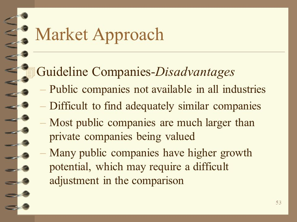 Market Approach Guideline Companies-Disadvantages