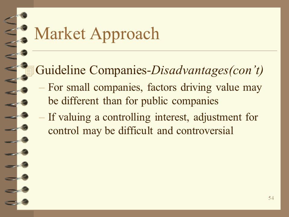 Market Approach Guideline Companies-Disadvantages(con't)
