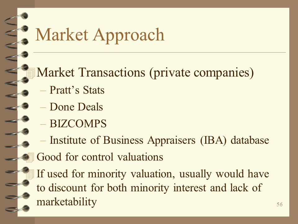 Market Approach Market Transactions (private companies) Pratt's Stats