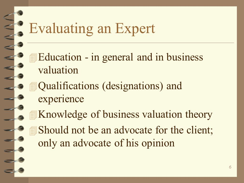 Evaluating an Expert Education - in general and in business valuation