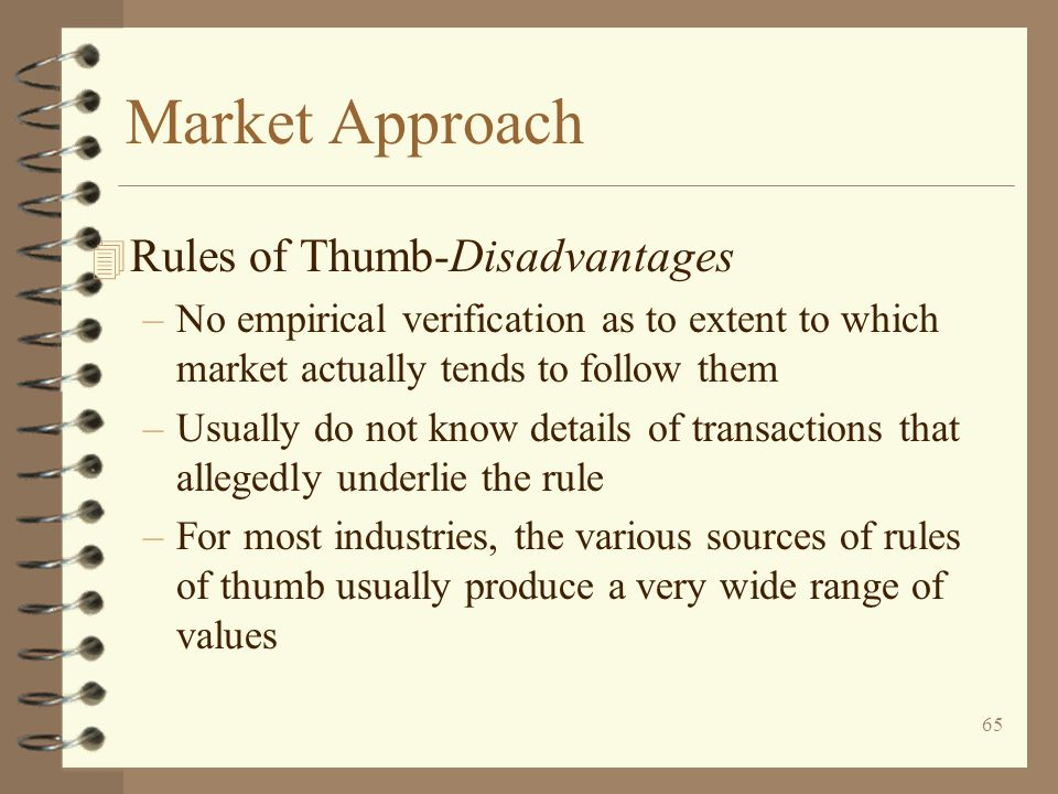 Market Approach Rules of Thumb-Disadvantages