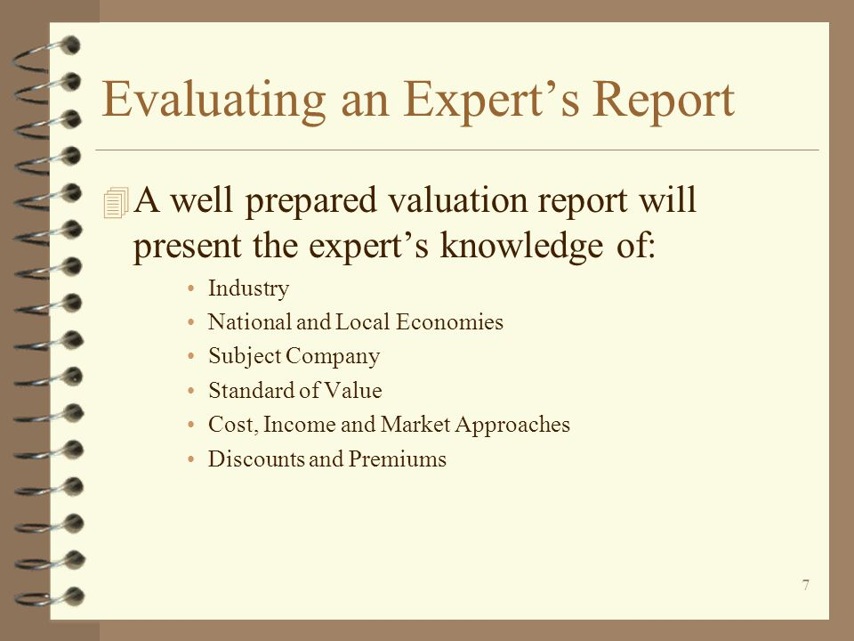 Evaluating an Expert's Report