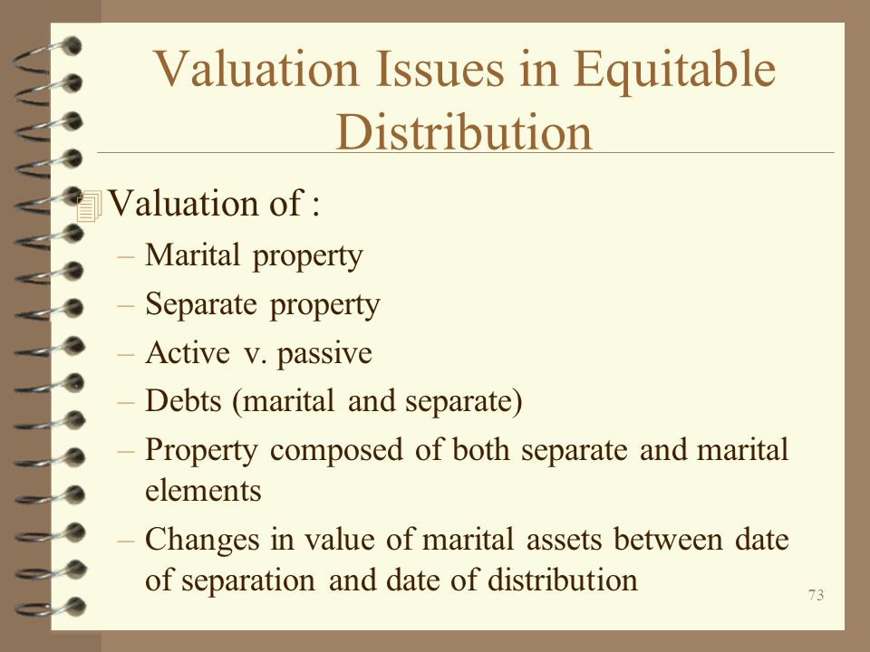 Valuation Issues in Equitable Distribution