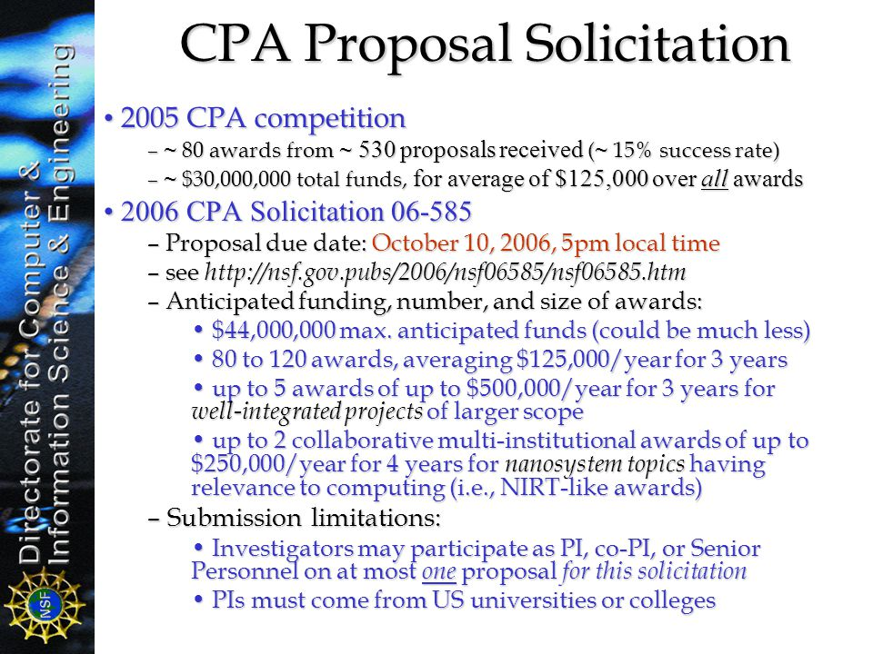 CPA Proposal Solicitation