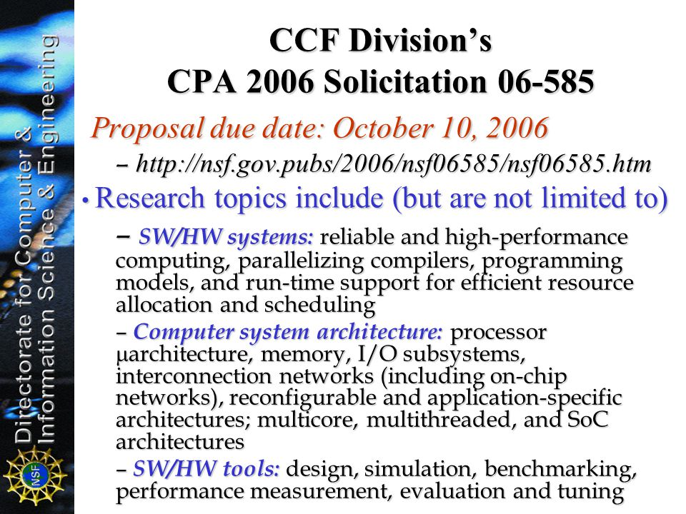 CCF Division's CPA 2006 Solicitation 06-585