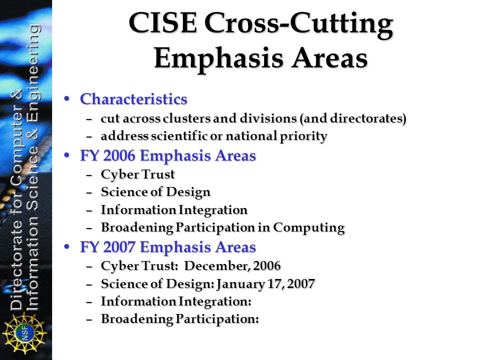 CISE Cross-Cutting Emphasis Areas