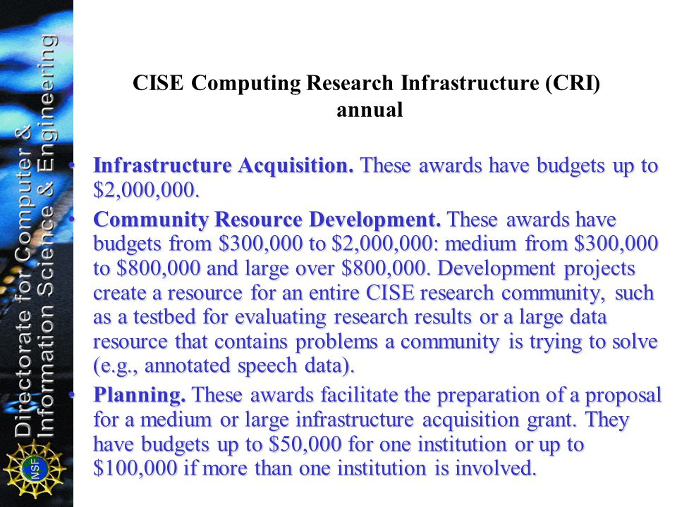 CISE Computing Research Infrastructure (CRI) annual