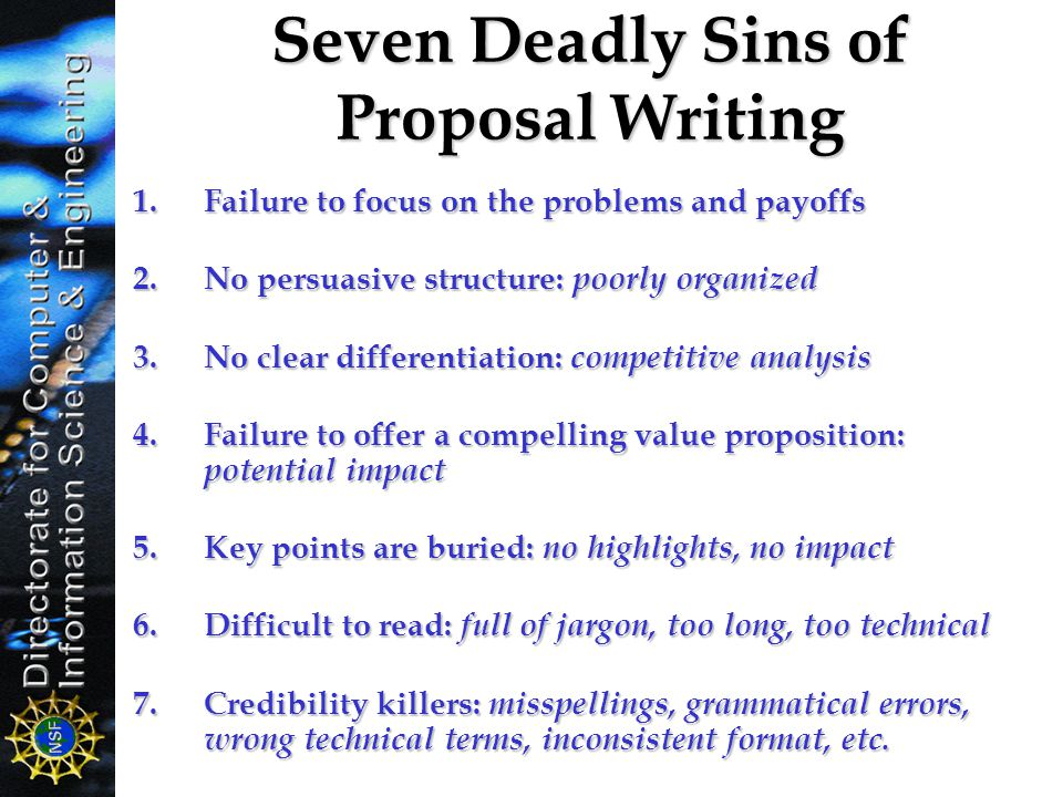 Seven Deadly Sins of Proposal Writing