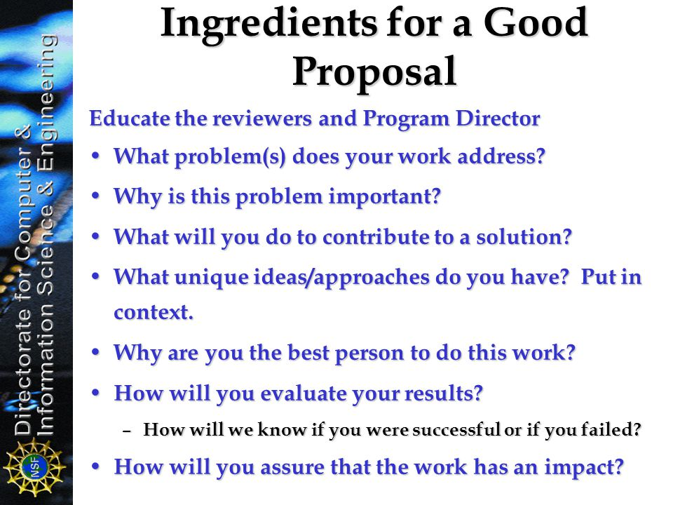 Ingredients for a Good Proposal