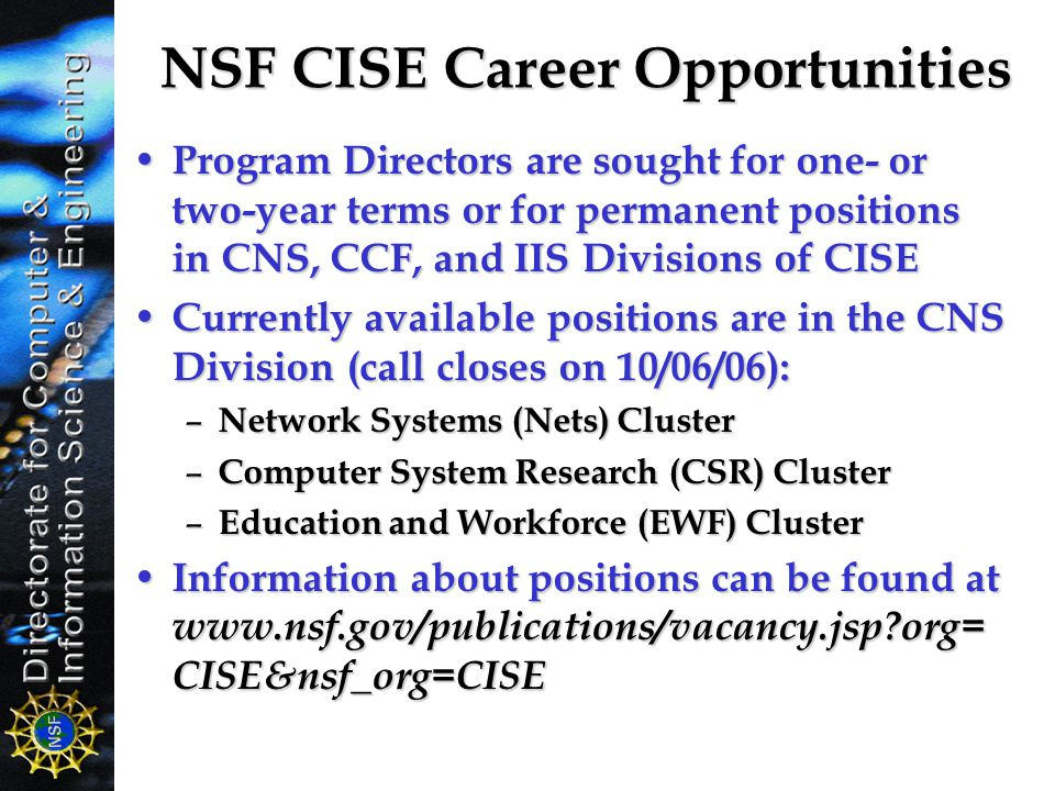 NSF CISE Career Opportunities