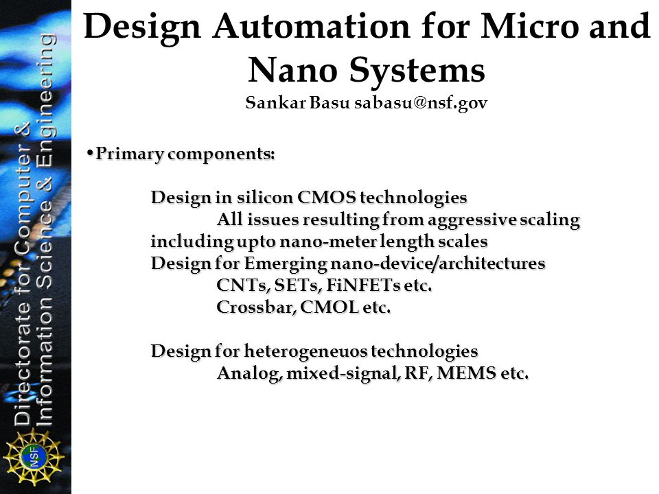 Design Automation for Micro and Nano Systems