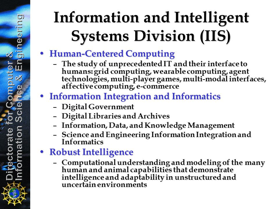 Information and Intelligent Systems Division (IIS)
