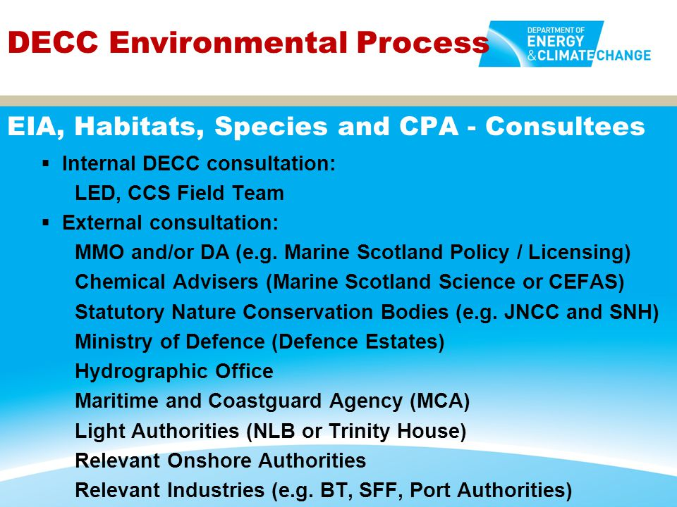 EIA, Habitats, Species and CPA - Consultees