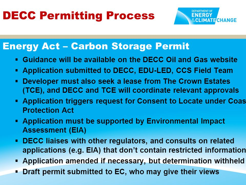 Energy Act – Carbon Storage Permit