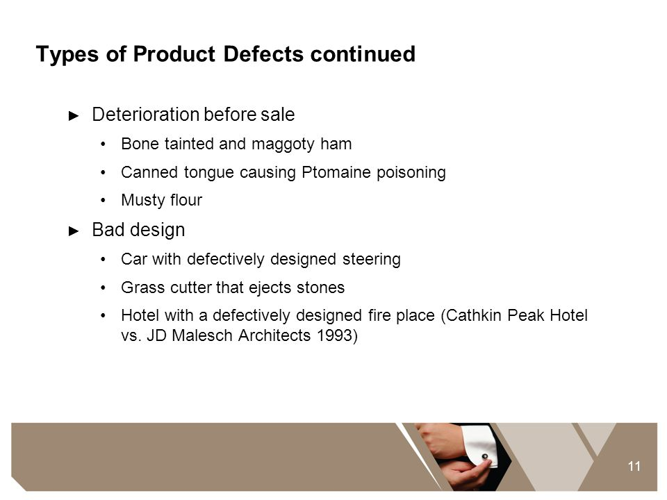 Types of Product Defects continued