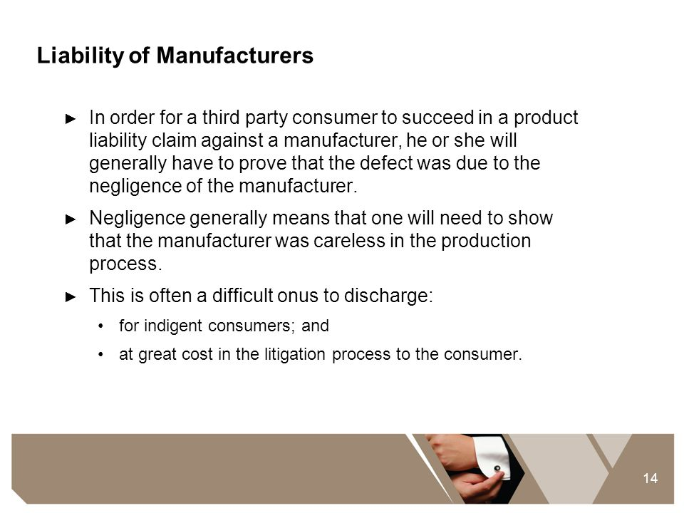 Liability of Manufacturers