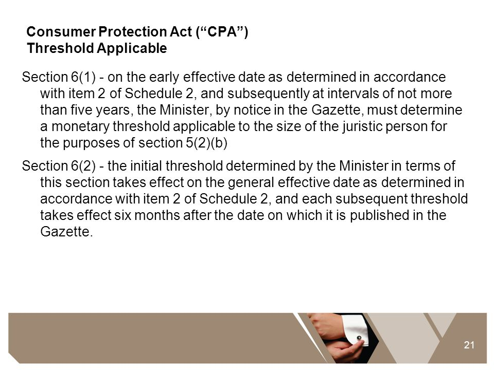 Consumer Protection Act ( CPA ) Threshold Applicable