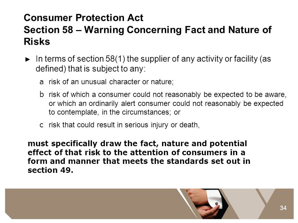 Consumer Protection Act Section 58 – Warning Concerning Fact and Nature of Risks