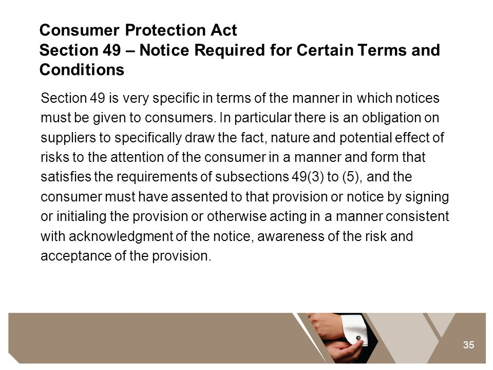 Consumer Protection Act Section 49 – Notice Required for Certain Terms and Conditions
