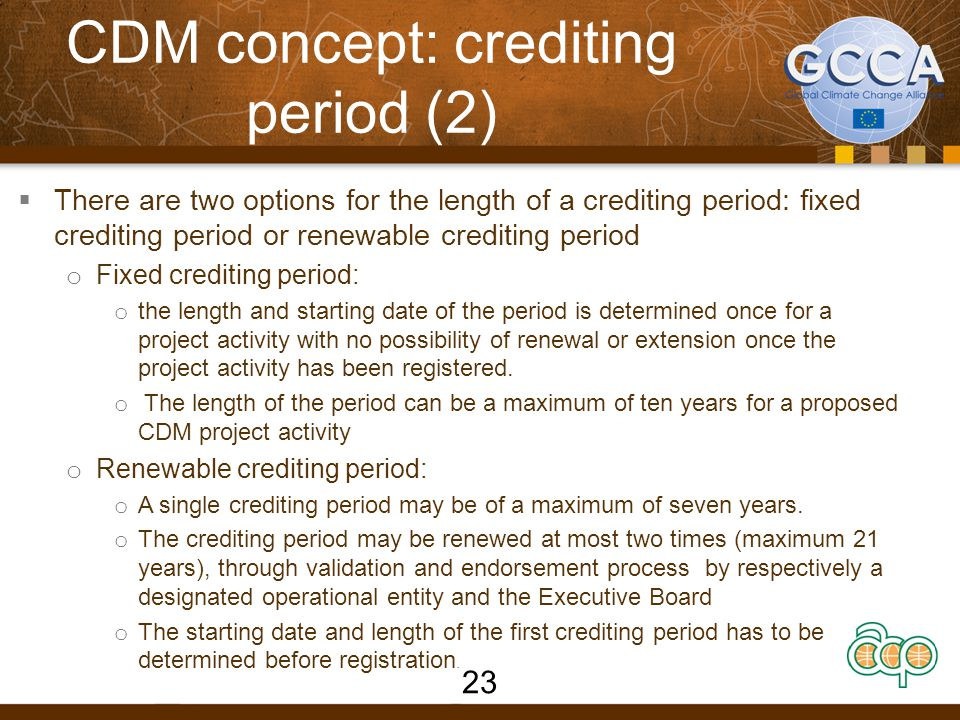 CDM concept: crediting period (2)
