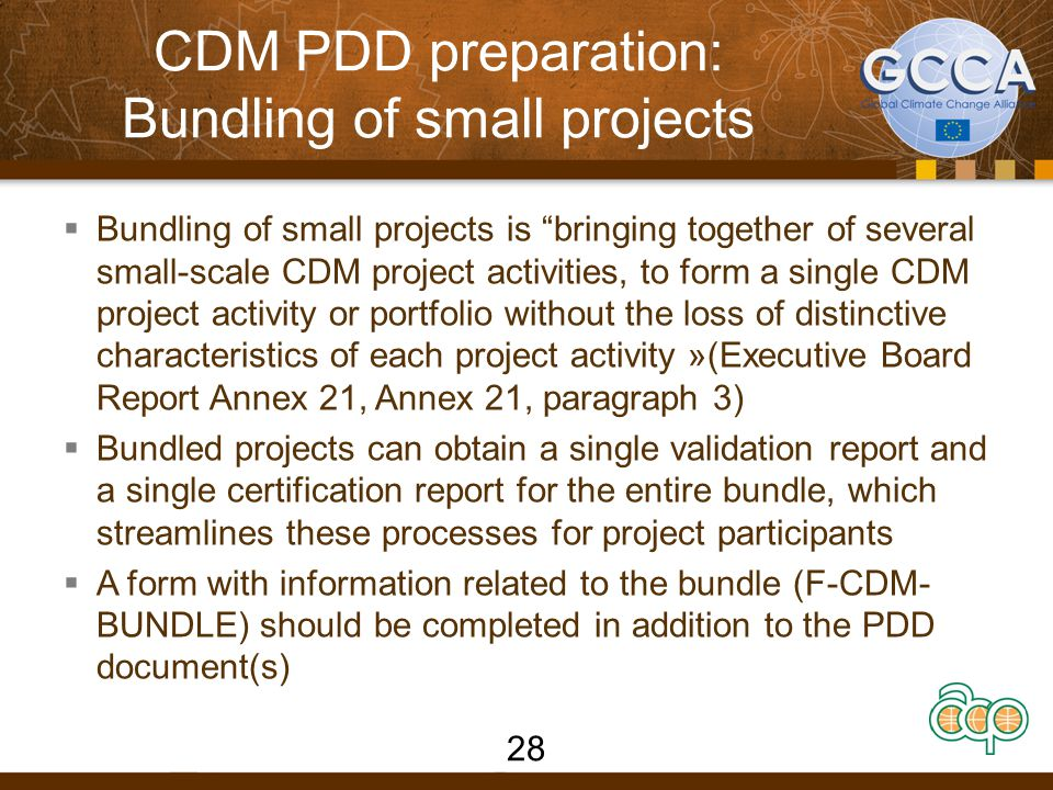 CDM PDD preparation: Bundling of small projects