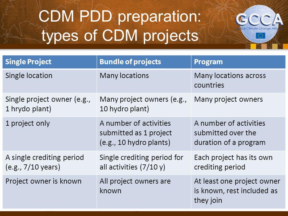 CDM PDD preparation: types of CDM projects