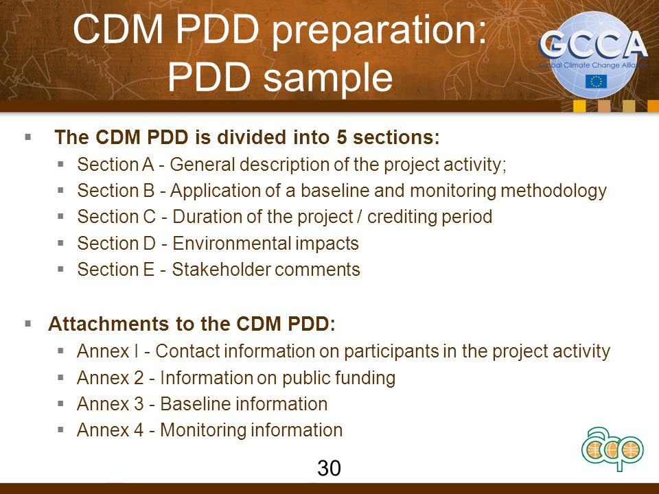 CDM PDD preparation: PDD sample