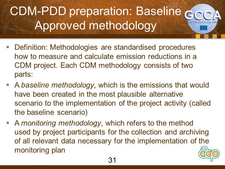 CDM-PDD preparation: Baseline Approved methodology