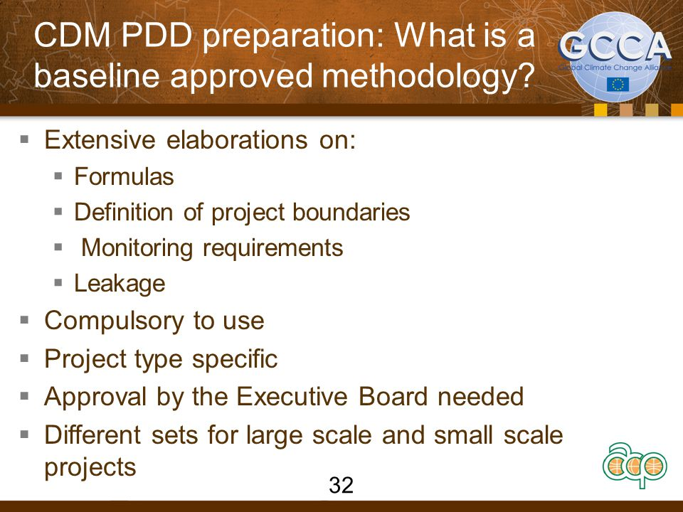 CDM PDD preparation: What is a baseline approved methodology