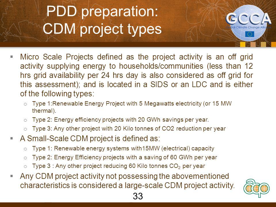PDD preparation: CDM project types