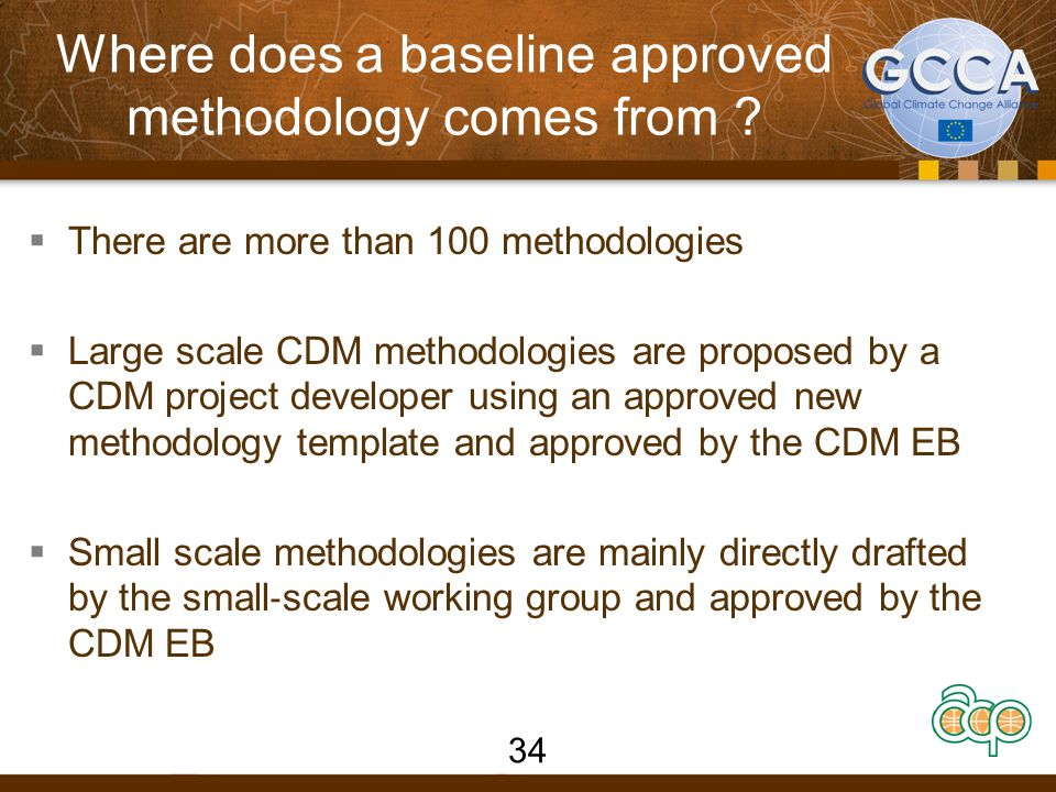 Where does a baseline approved methodology comes from