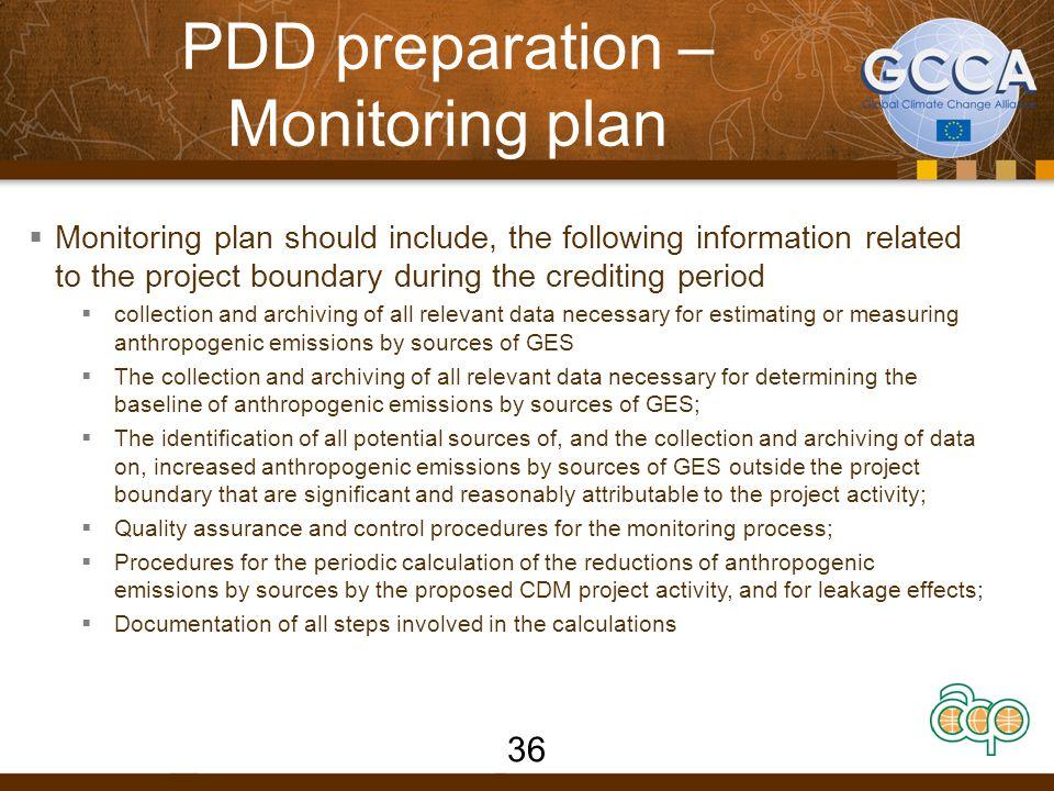 PDD preparation – Monitoring plan