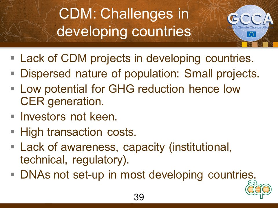 CDM: Challenges in developing countries