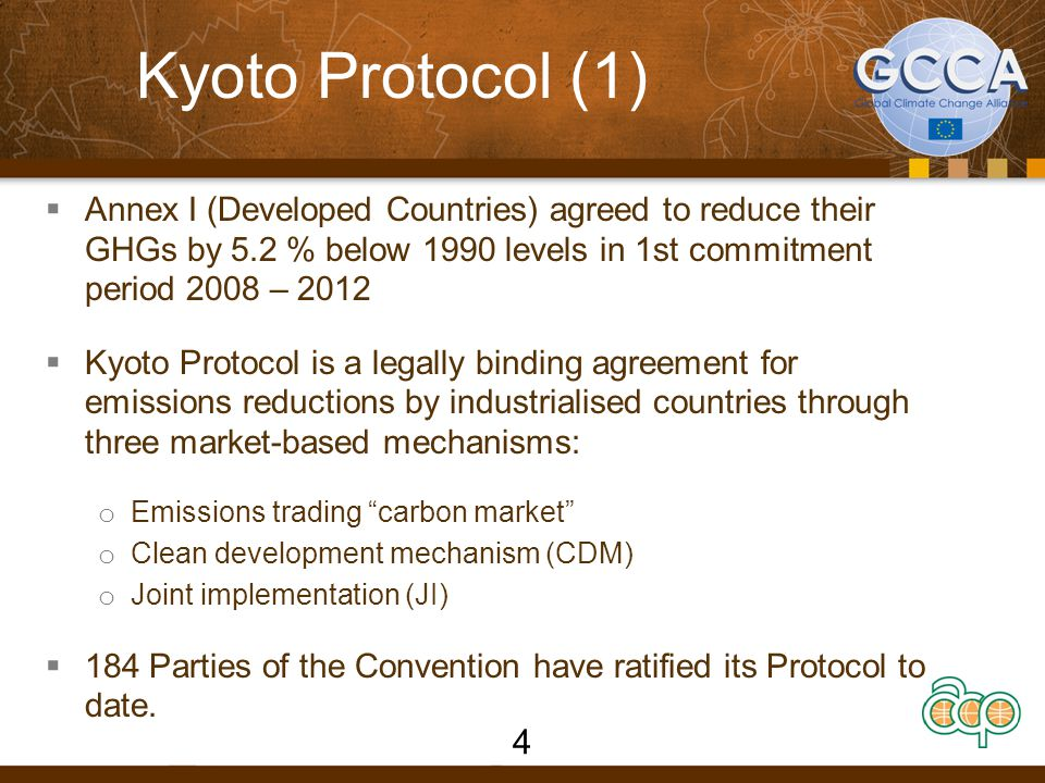 Kyoto Protocol (1) Annex I (Developed Countries) agreed to reduce their GHGs by 5.2 % below 1990 levels in 1st commitment period 2008 – 2012.
