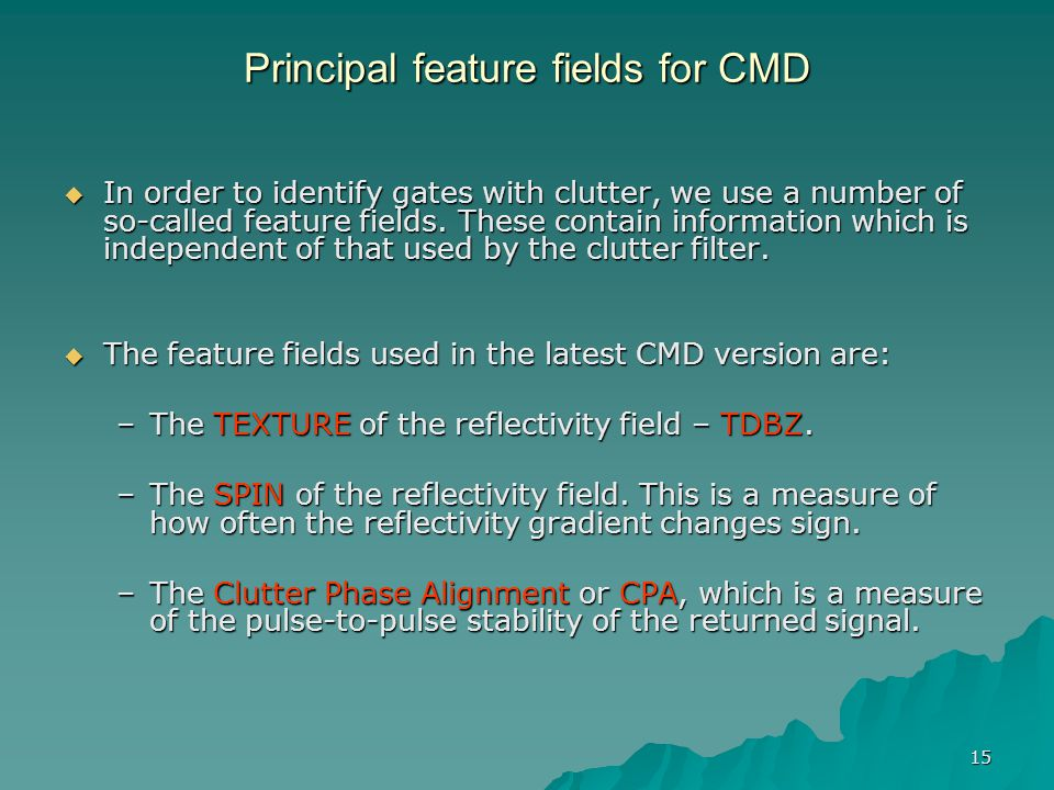 Principal feature fields for CMD