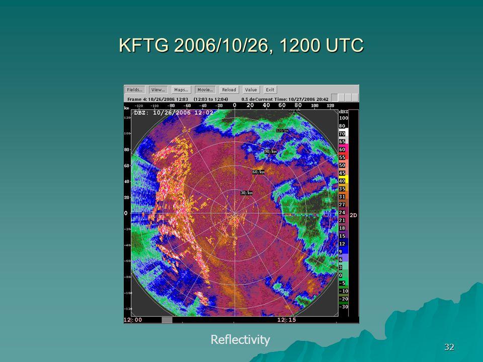 KFTG 2006/10/26, 1200 UTC Reflectivity