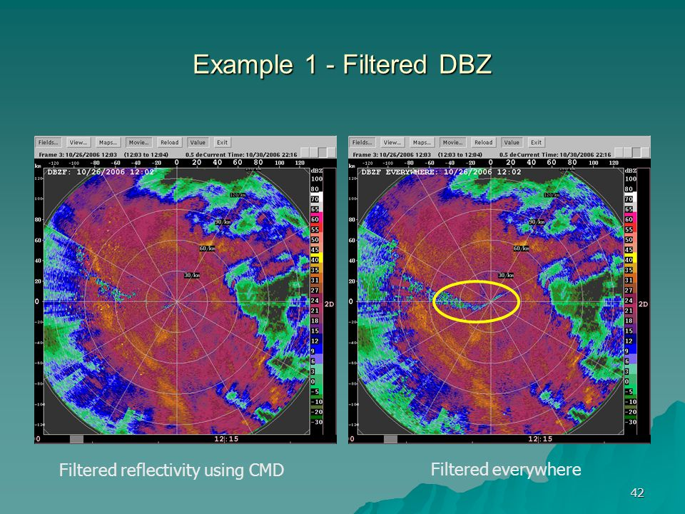 Example 1 - Filtered DBZ Filtered reflectivity using CMD