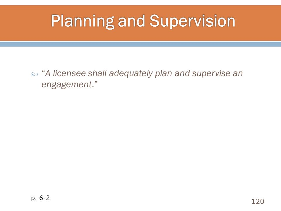 Planning and Supervision