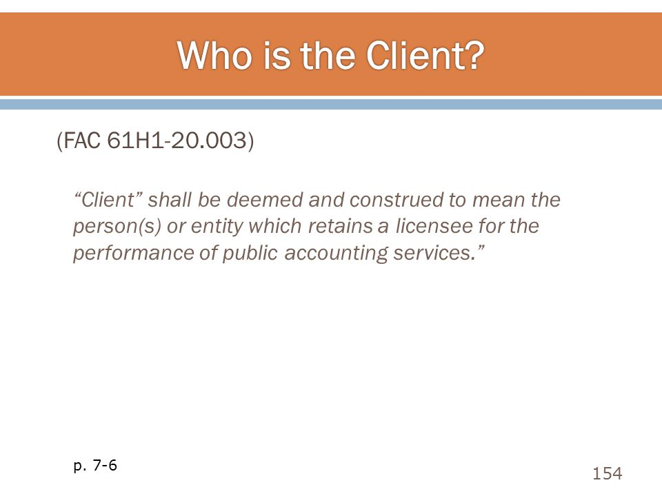 Who is the Client (FAC 61H1-20.003)