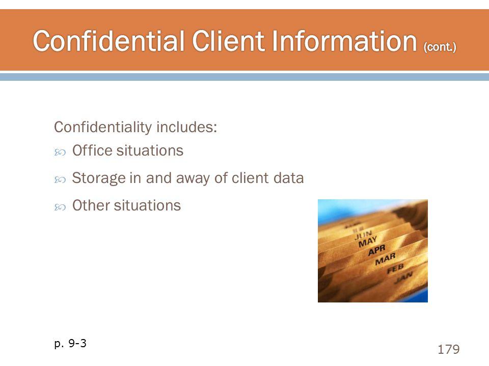 Confidential Client Information (cont.)