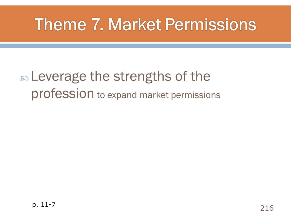 Theme 7. Market Permissions