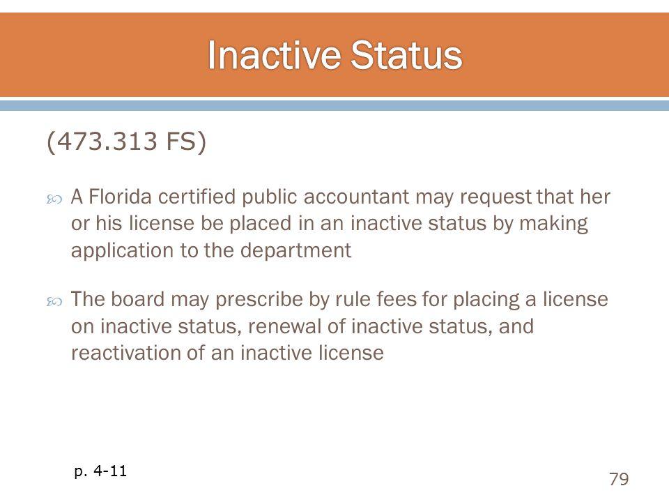 Inactive Status (473.313 FS)