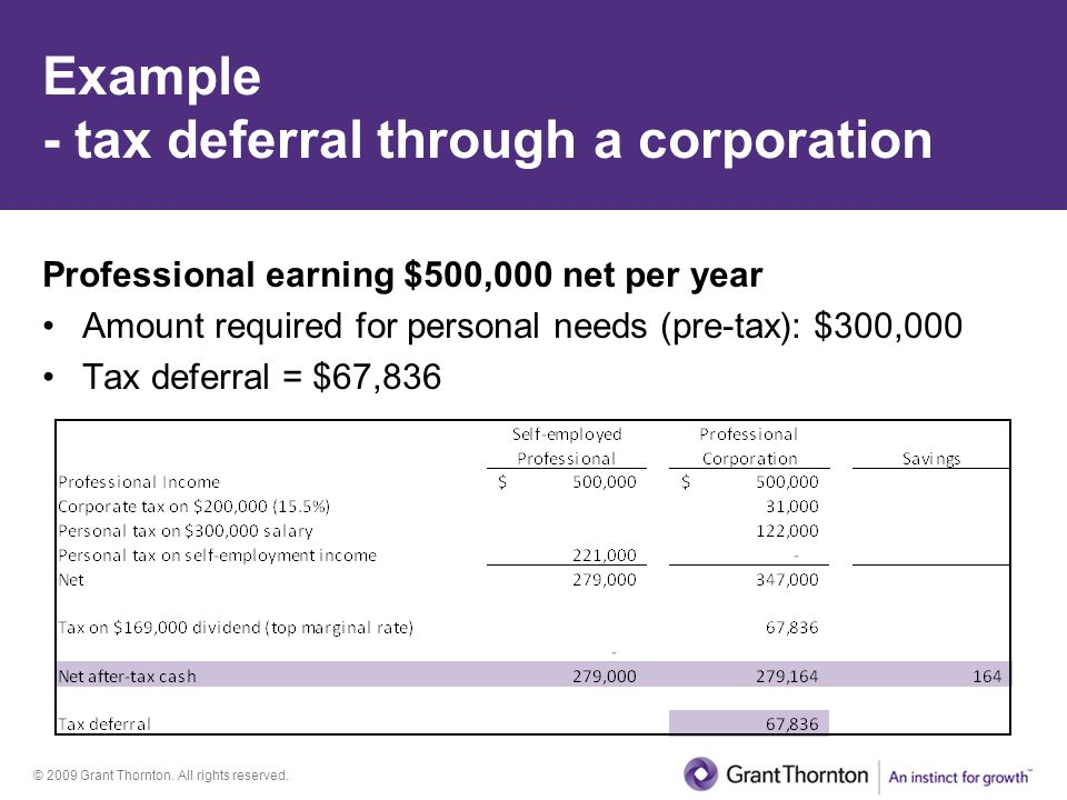 Example - tax deferral through a corporation