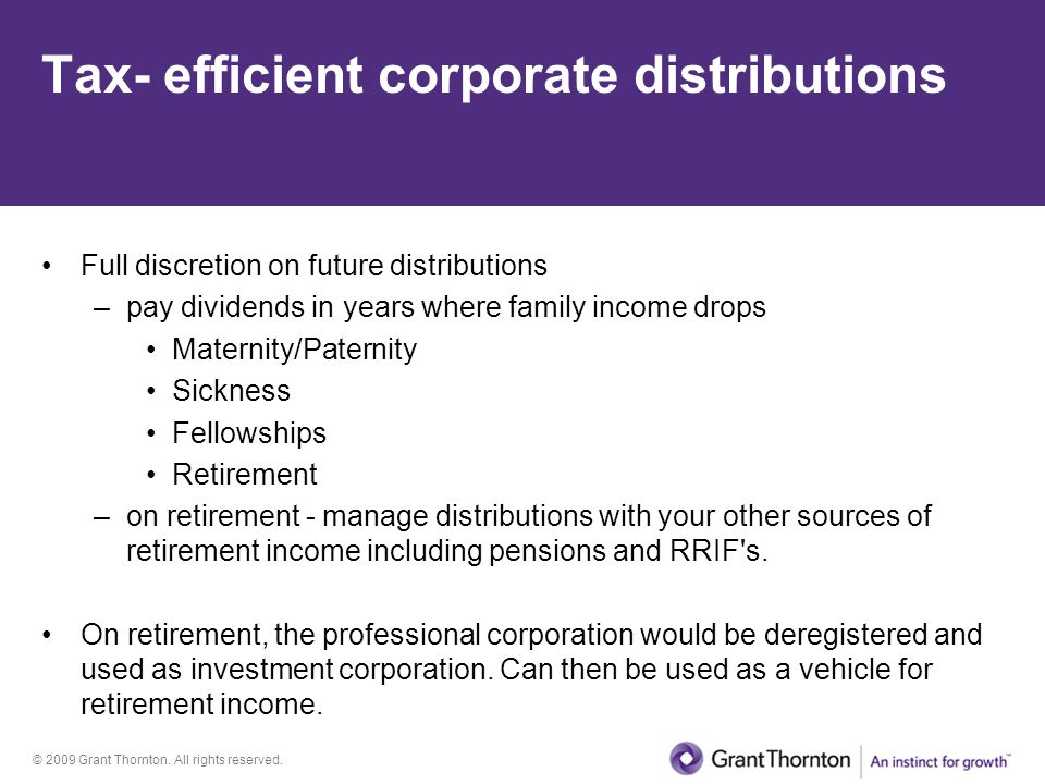 Tax- efficient corporate distributions
