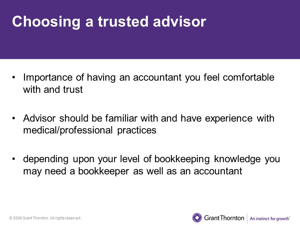 Choosing a trusted advisor