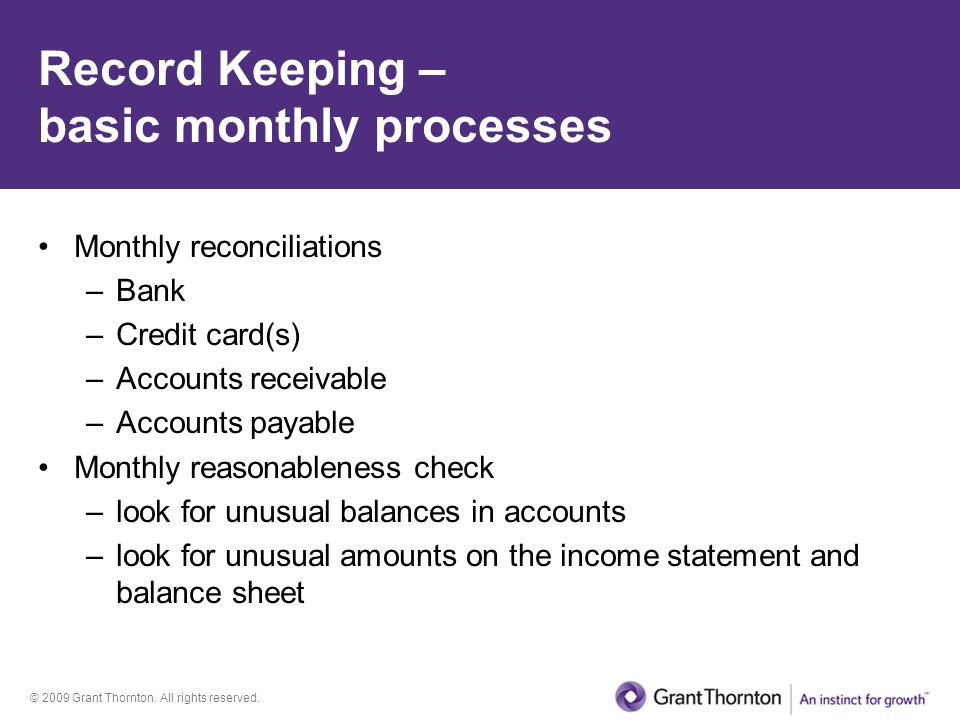Record Keeping – basic monthly processes