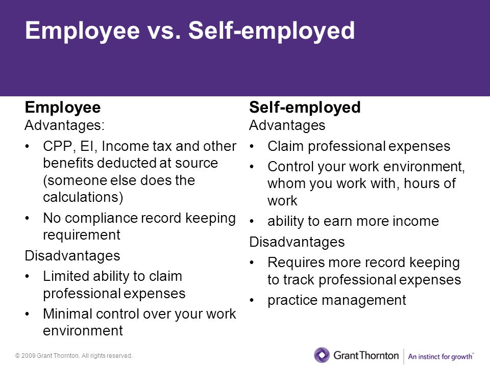 Employee vs. Self-employed