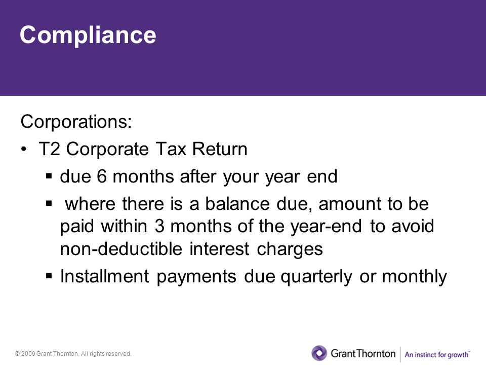 Compliance Corporations: T2 Corporate Tax Return