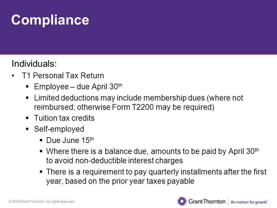 Compliance Individuals: T1 Personal Tax Return