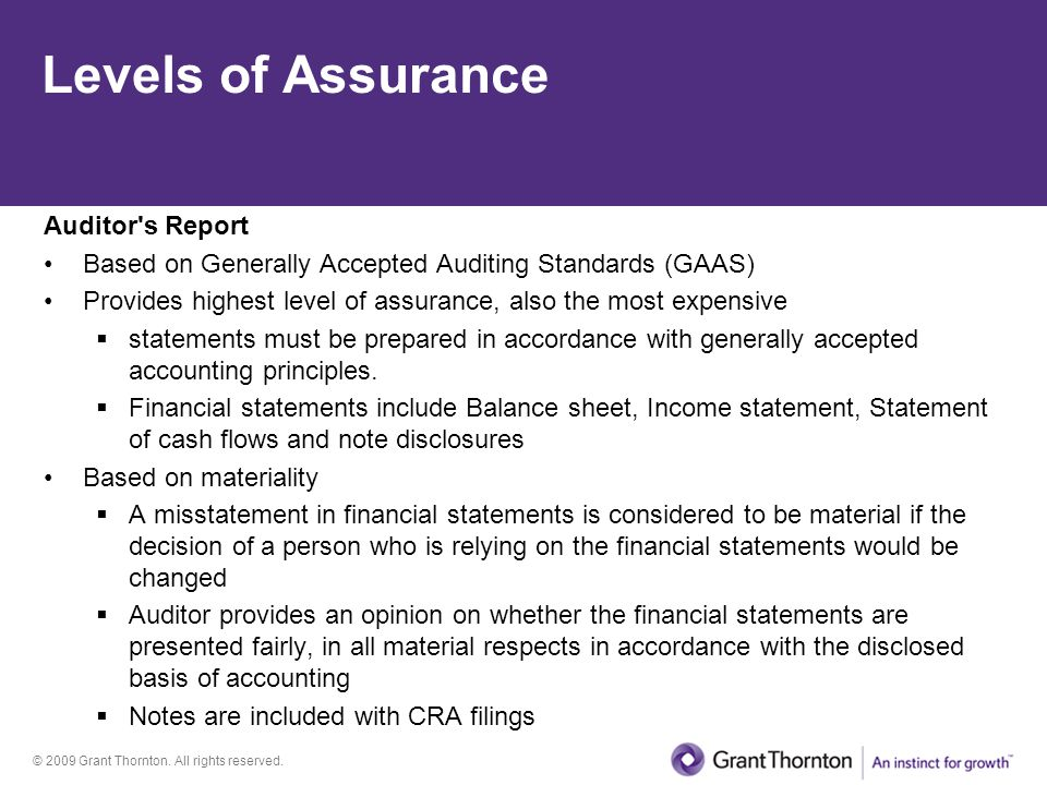 Levels of Assurance Auditor s Report